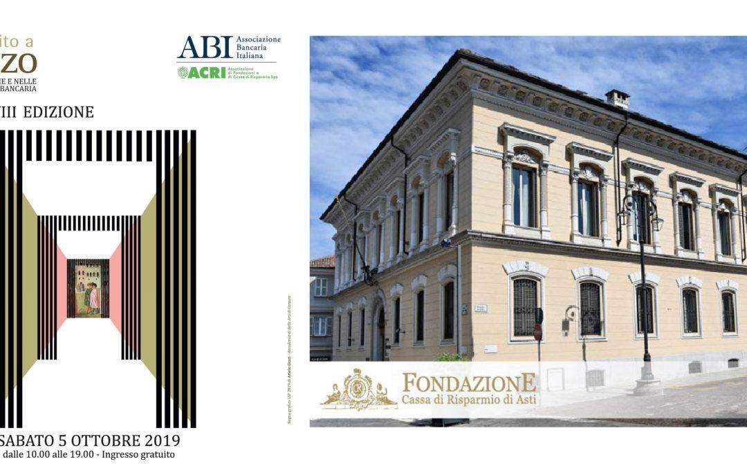 Sabato 5 ottobre, dalle 10 alle 19, visite guidate gratuite nella sede della Fondazione Cassa di Risparmio di Asti per Invito a Palazzo 2019.